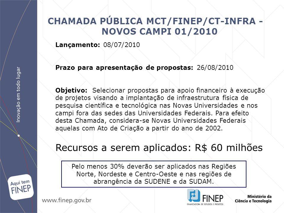 CHAMADA PÚBLICA MCT/FINEP/CT-INFRA - NOVOS CAMPI 01/2010
