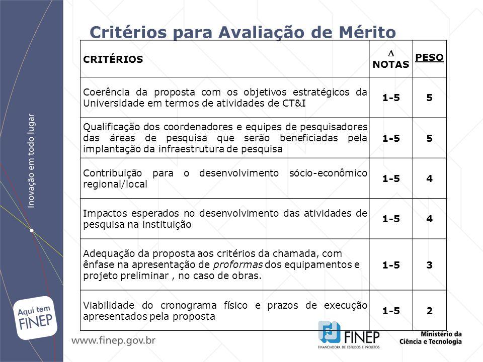 Critérios para Avaliação de Mérito