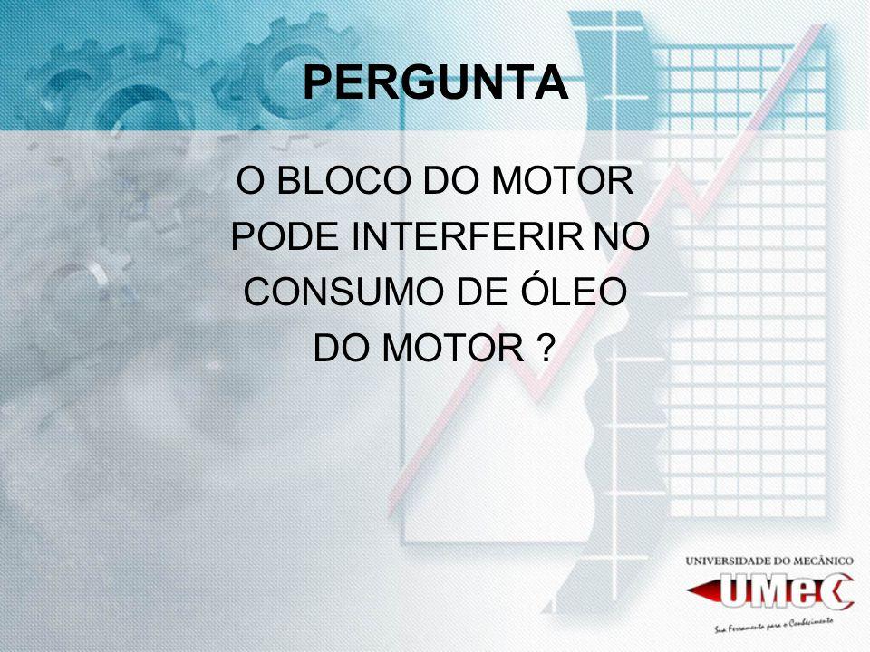 PERGUNTA O BLOCO DO MOTOR PODE INTERFERIR NO CONSUMO DE ÓLEO