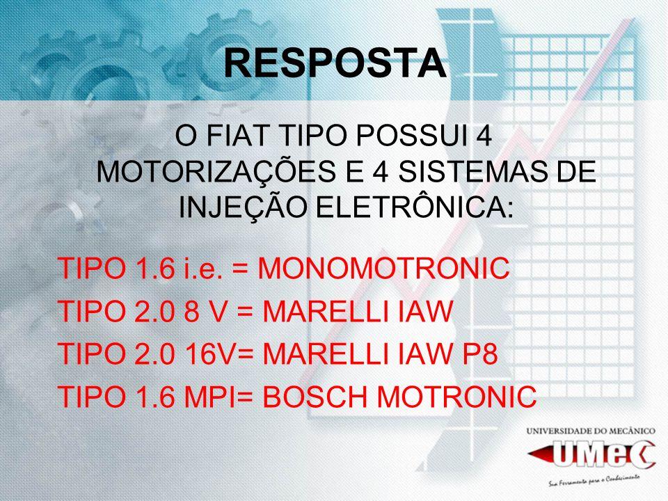 O FIAT TIPO POSSUI 4 MOTORIZAÇÕES E 4 SISTEMAS DE INJEÇÃO ELETRÔNICA: