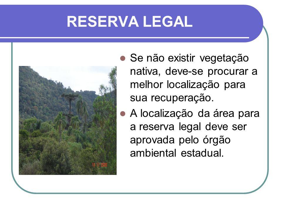 RESERVA LEGALSe não existir vegetação nativa, deve-se procurar a melhor localização para sua recuperação.