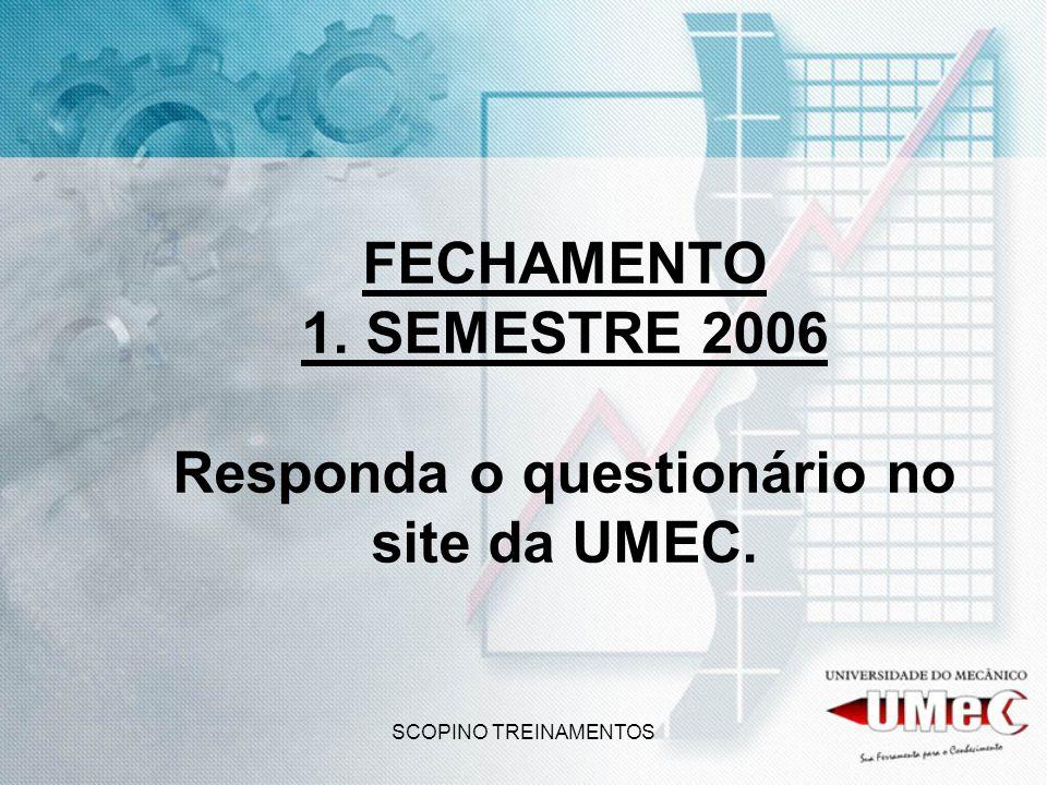 FECHAMENTO 1. SEMESTRE 2006 Responda o questionário no site da UMEC.