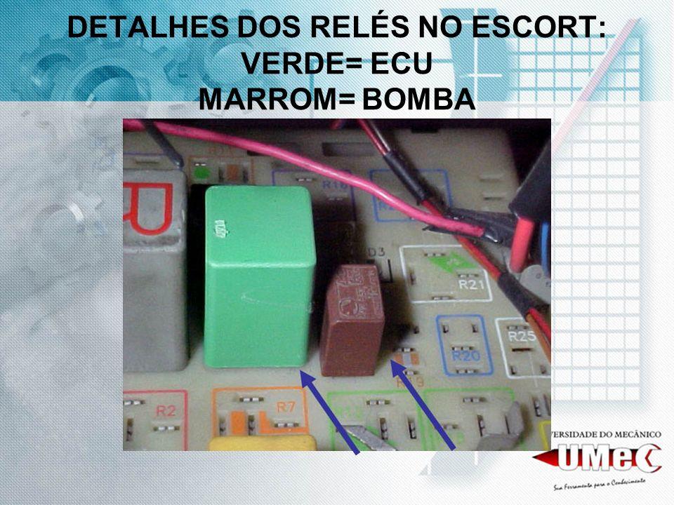 DETALHES DOS RELÉS NO ESCORT: VERDE= ECU MARROM= BOMBA