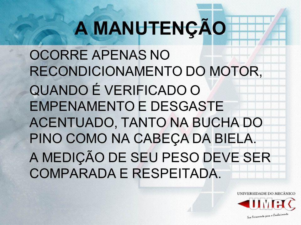 A MANUTENÇÃO OCORRE APENAS NO RECONDICIONAMENTO DO MOTOR,