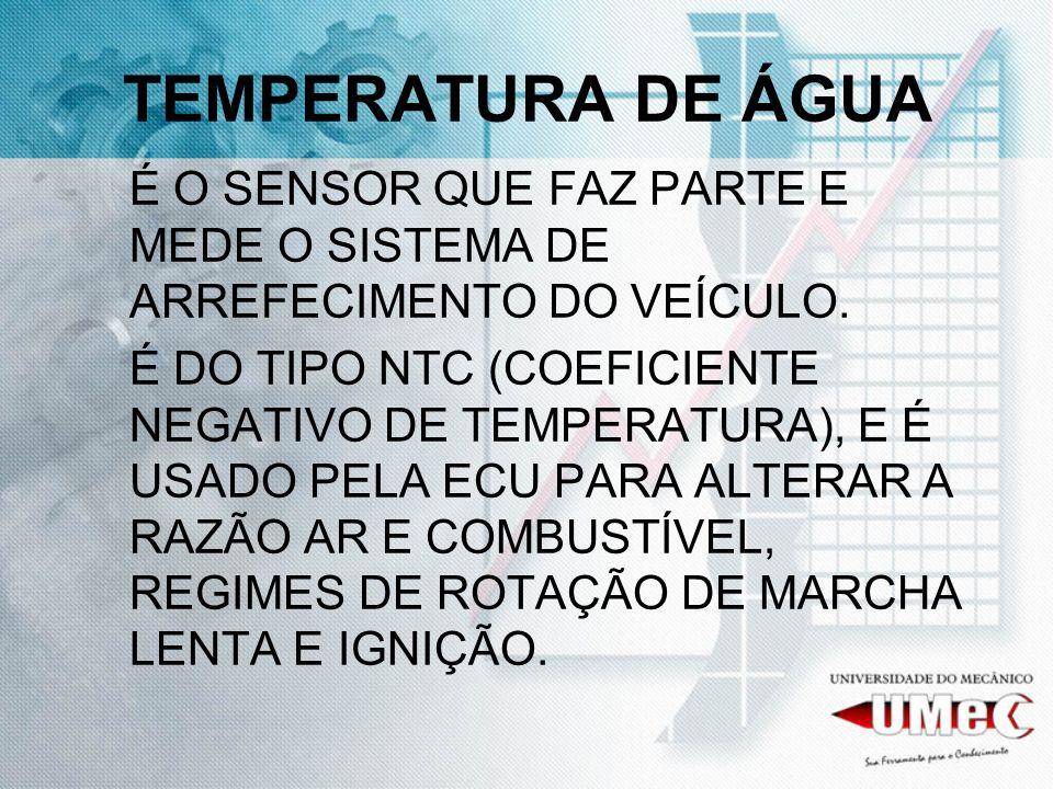 TEMPERATURA DE ÁGUAÉ O SENSOR QUE FAZ PARTE E MEDE O SISTEMA DE ARREFECIMENTO DO VEÍCULO.