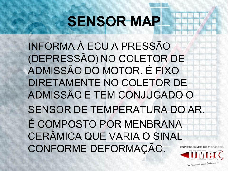 SENSOR MAP INFORMA À ECU A PRESSÃO (DEPRESSÃO) NO COLETOR DE ADMISSÃO DO MOTOR. É FIXO DIRETAMENTE NO COLETOR DE ADMISSÃO E TEM CONJUGADO O.