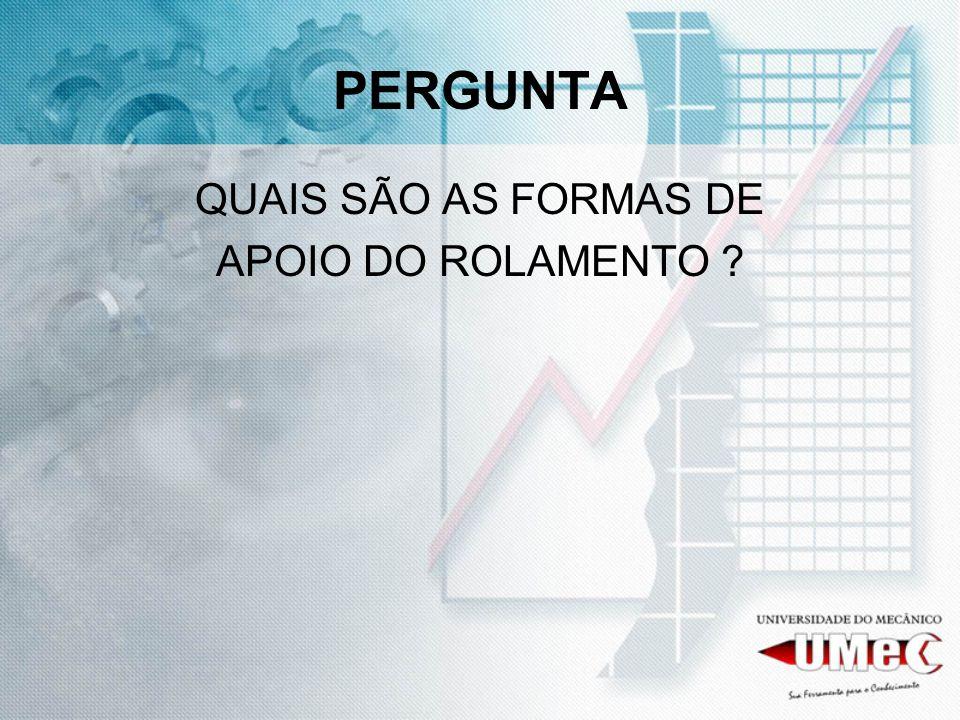 PERGUNTA QUAIS SÃO AS FORMAS DE APOIO DO ROLAMENTO