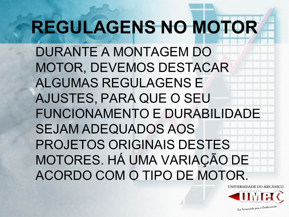 REGULAGENS NO MOTOR