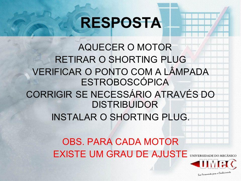 RESPOSTA AQUECER O MOTOR RETIRAR O SHORTING PLUG