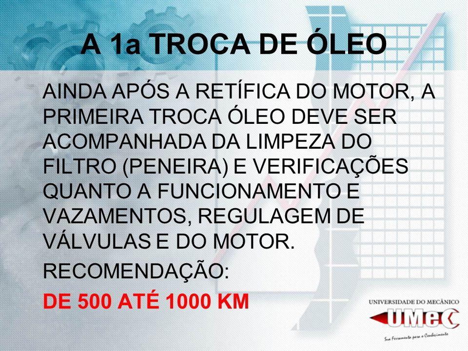 A 1a TROCA DE ÓLEO