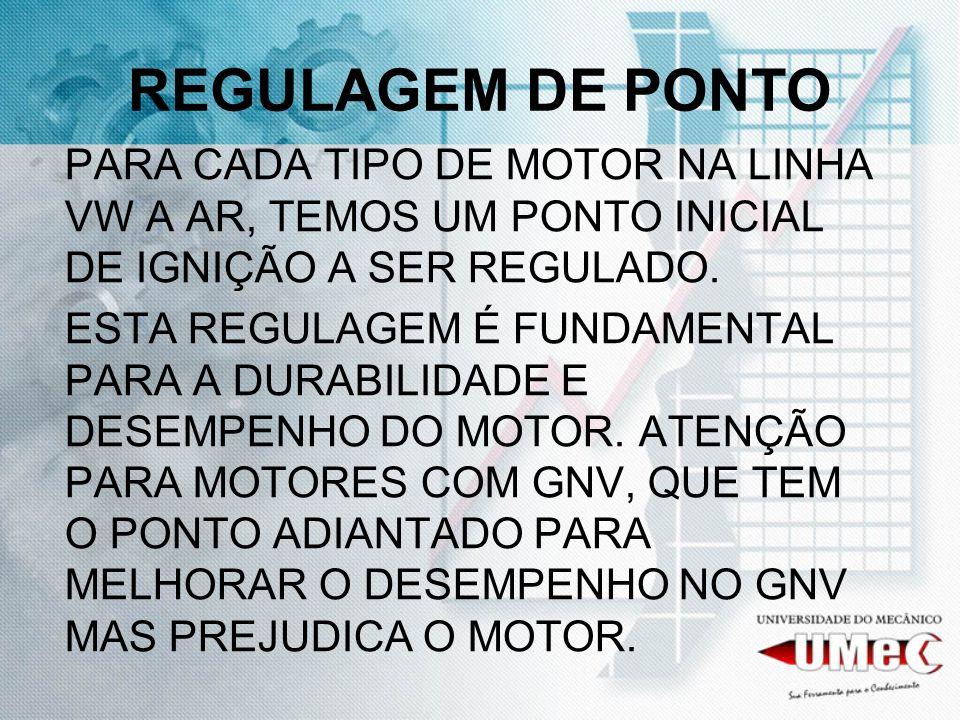 REGULAGEM DE PONTO PARA CADA TIPO DE MOTOR NA LINHA VW A AR, TEMOS UM PONTO INICIAL DE IGNIÇÃO A SER REGULADO.