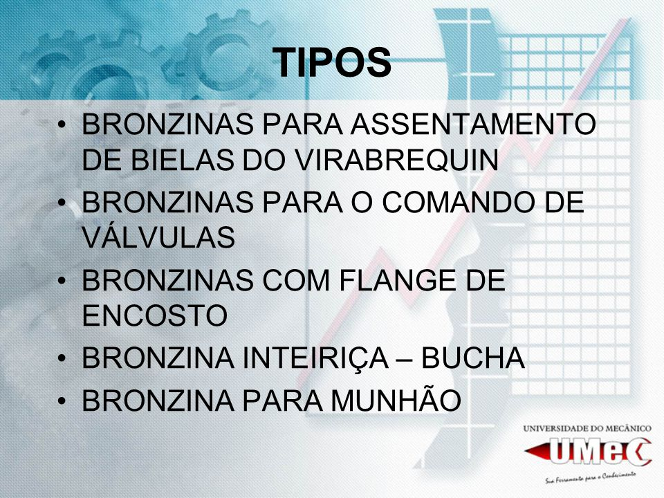 TIPOS BRONZINAS PARA ASSENTAMENTO DE BIELAS DO VIRABREQUIN