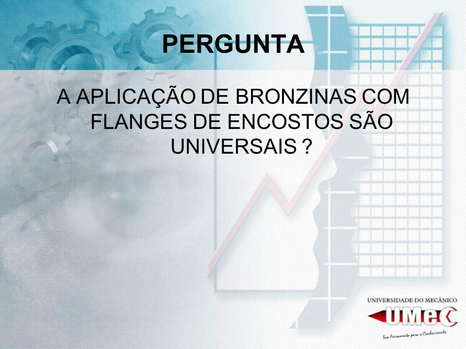 A APLICAÇÃO DE BRONZINAS COM FLANGES DE ENCOSTOS SÃO UNIVERSAIS