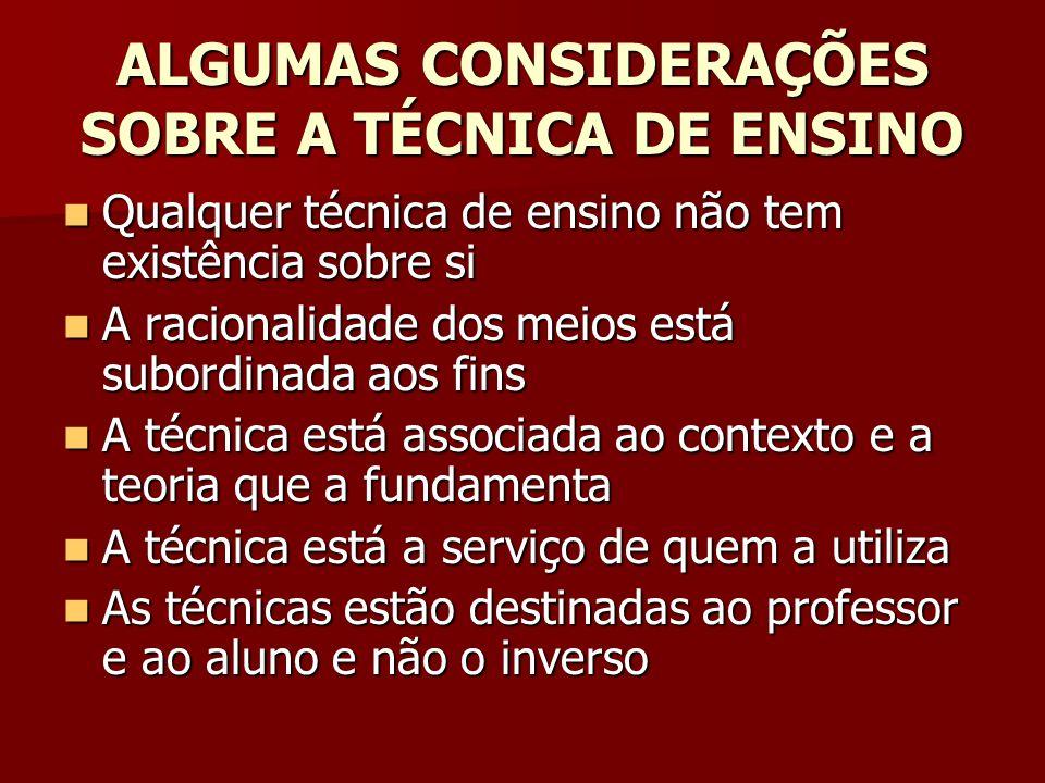 ALGUMAS CONSIDERAÇÕES SOBRE A TÉCNICA DE ENSINO