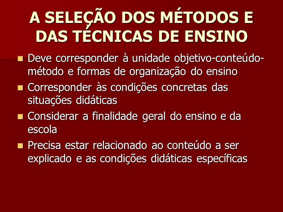 A SELEÇÃO DOS MÉTODOS E DAS TÉCNICAS DE ENSINO
