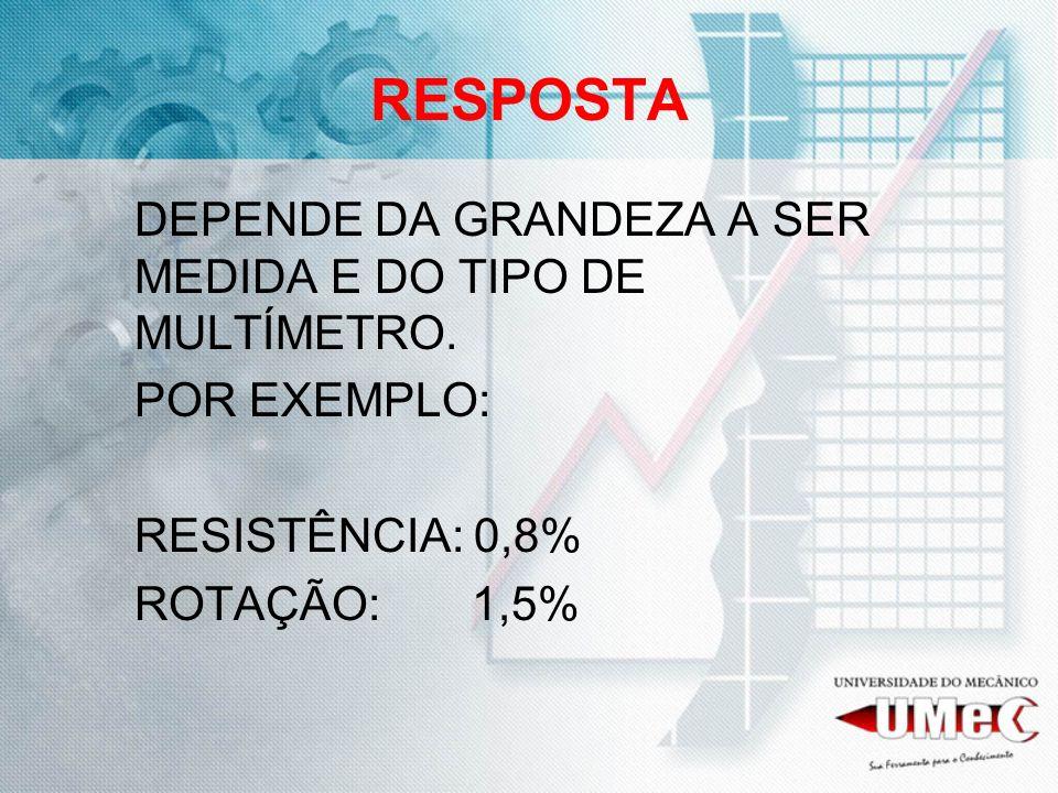 RESPOSTA POR EXEMPLO: RESISTÊNCIA: 0,8% ROTAÇÃO: 1,5%