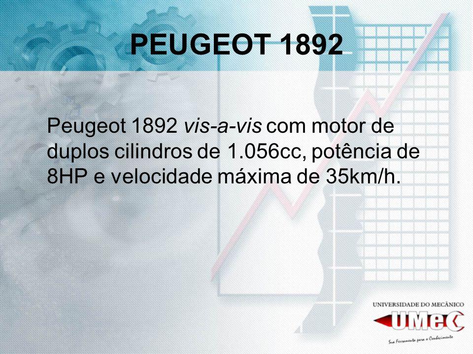 PEUGEOT 1892 Peugeot 1892 vis-a-vis com motor de duplos cilindros de 1.056cc, potência de 8HP e velocidade máxima de 35km/h.