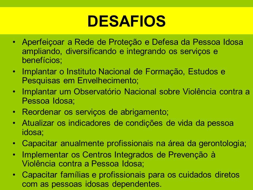 DESAFIOS Aperfeiçoar a Rede de Proteção e Defesa da Pessoa Idosa ampliando, diversificando e integrando os serviços e benefícios;