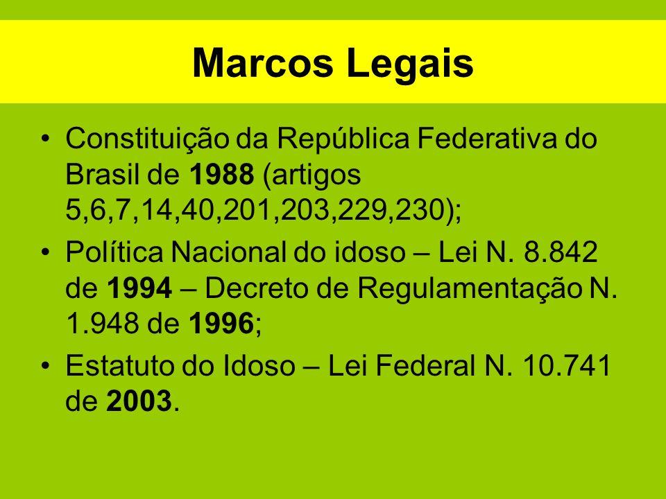 Marcos Legais Constituição da República Federativa do Brasil de 1988 (artigos 5,6,7,14,40,201,203,229,230);