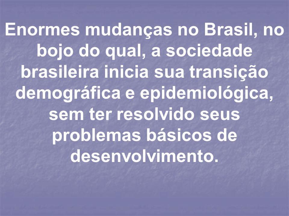 Enormes mudanças no Brasil, no bojo do qual, a sociedade brasileira inicia sua transição demográfica e epidemiológica, sem ter resolvido seus problemas básicos de desenvolvimento.