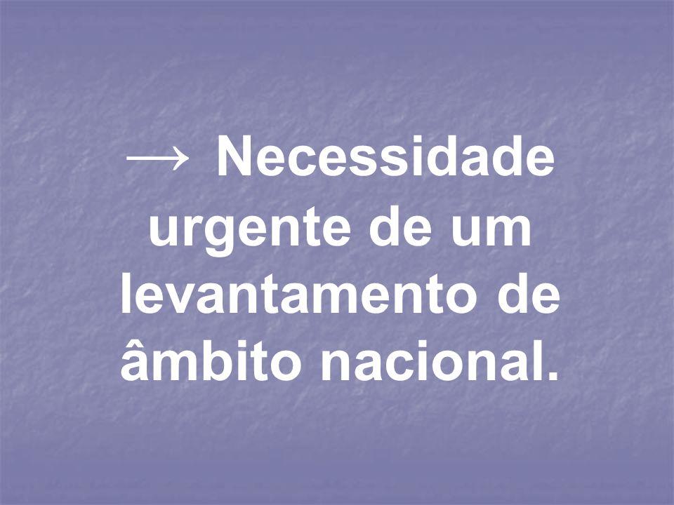 → Necessidade urgente de um levantamento de âmbito nacional.