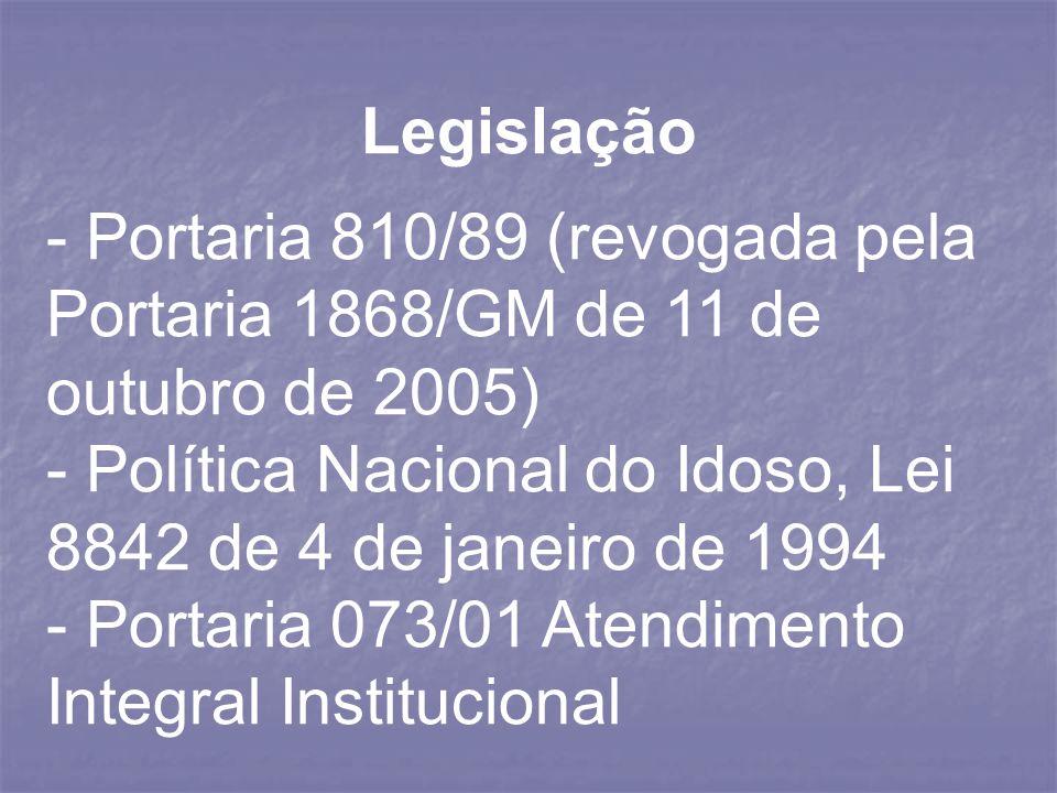 Legislação- Portaria 810/89 (revogada pela Portaria 1868/GM de 11 de outubro de 2005) - Política Nacional do Idoso, Lei 8842 de 4 de janeiro de 1994.
