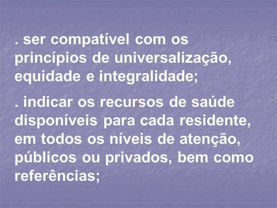 . ser compatível com os princípios de universalização, equidade e integralidade;
