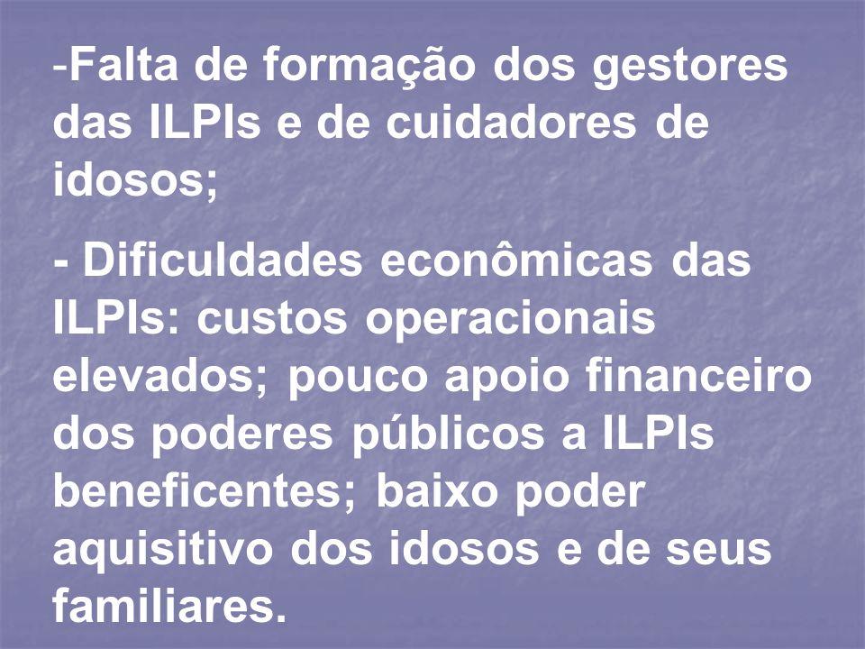 Falta de formação dos gestores das ILPIs e de cuidadores de idosos;