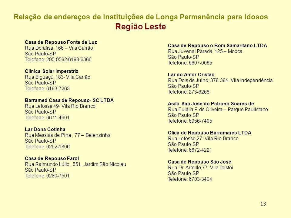 Relação de endereços de Instituições de Longa Permanência para Idosos Região Leste