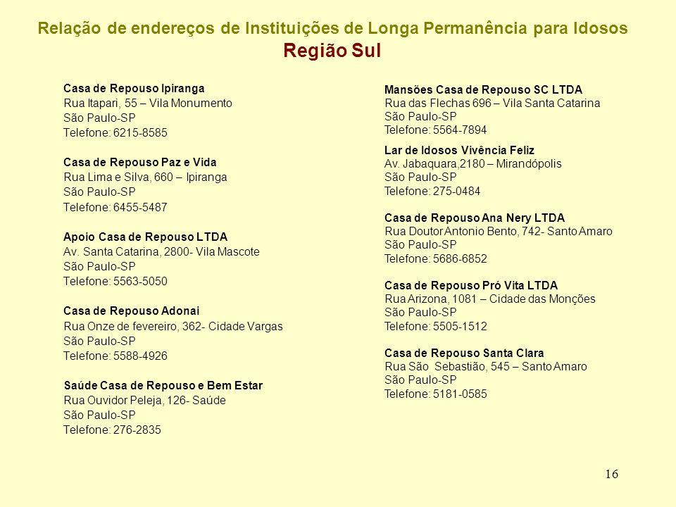 Relação de endereços de Instituições de Longa Permanência para Idosos Região Sul