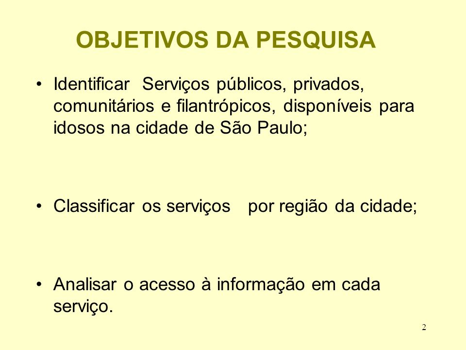 OBJETIVOS DA PESQUISA Identificar Serviços públicos, privados, comunitários e filantrópicos, disponíveis para idosos na cidade de São Paulo;