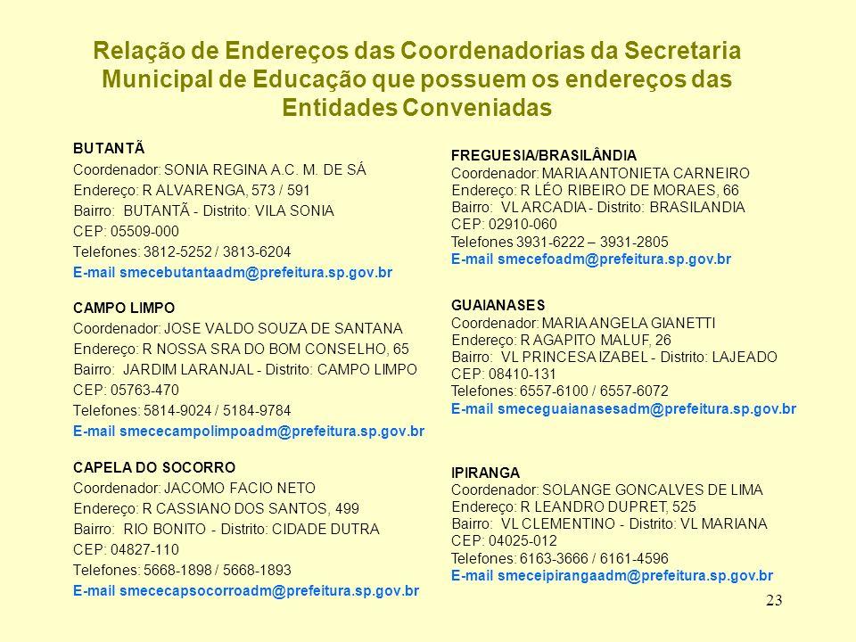 Relação de Endereços das Coordenadorias da Secretaria Municipal de Educação que possuem os endereços das Entidades Conveniadas