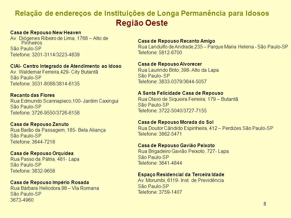 Relação de endereços de Instituições de Longa Permanência para Idosos Região Oeste