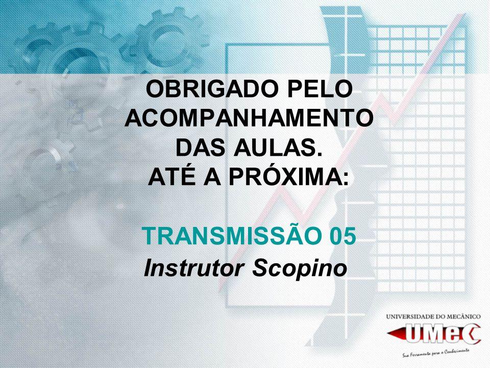 OBRIGADO PELO ACOMPANHAMENTO DAS AULAS