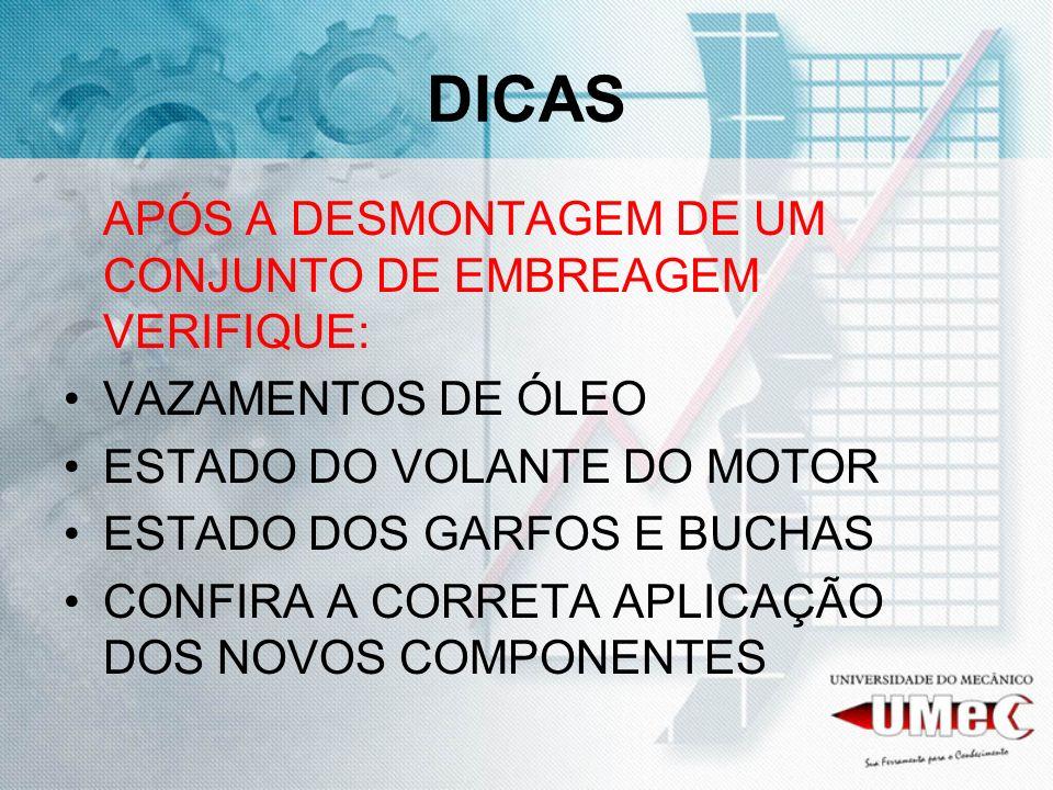 DICAS APÓS A DESMONTAGEM DE UM CONJUNTO DE EMBREAGEM VERIFIQUE: