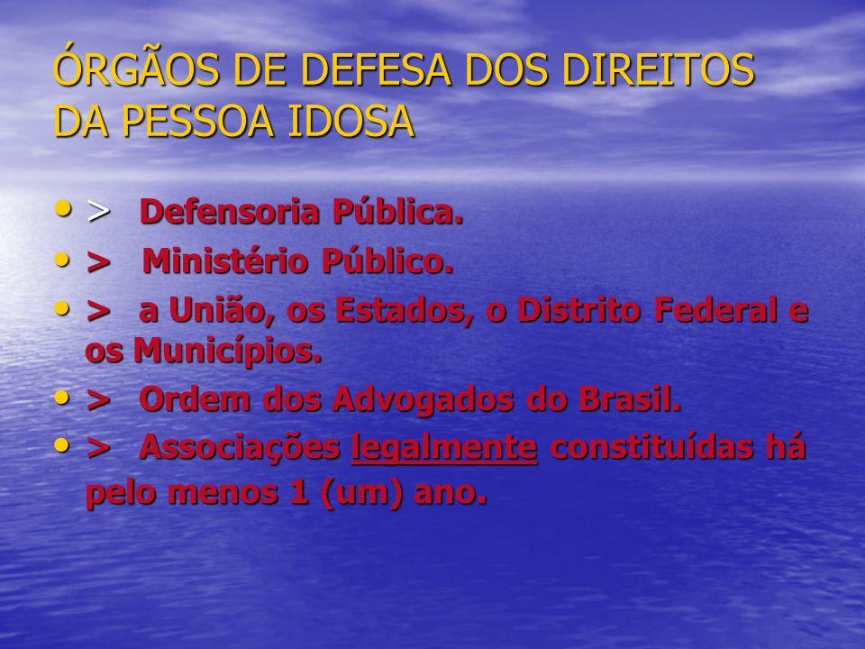 ÓRGÃOS DE DEFESA DOS DIREITOS DA PESSOA IDOSA