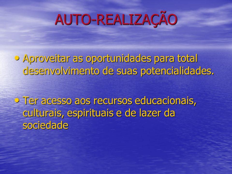 AUTO-REALIZAÇÃO Aproveitar as oportunidades para total desenvolvimento de suas potencialidades.