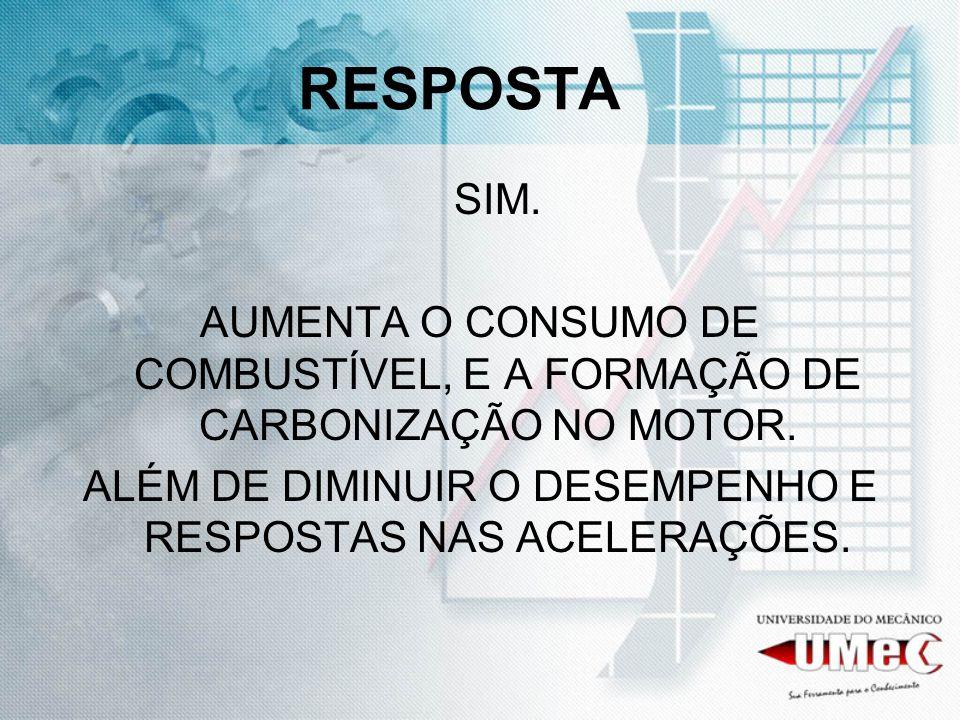 ALÉM DE DIMINUIR O DESEMPENHO E RESPOSTAS NAS ACELERAÇÕES.