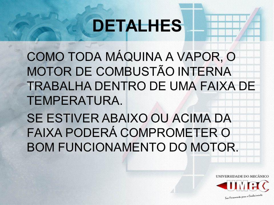 DETALHESCOMO TODA MÁQUINA A VAPOR, O MOTOR DE COMBUSTÃO INTERNA TRABALHA DENTRO DE UMA FAIXA DE TEMPERATURA.