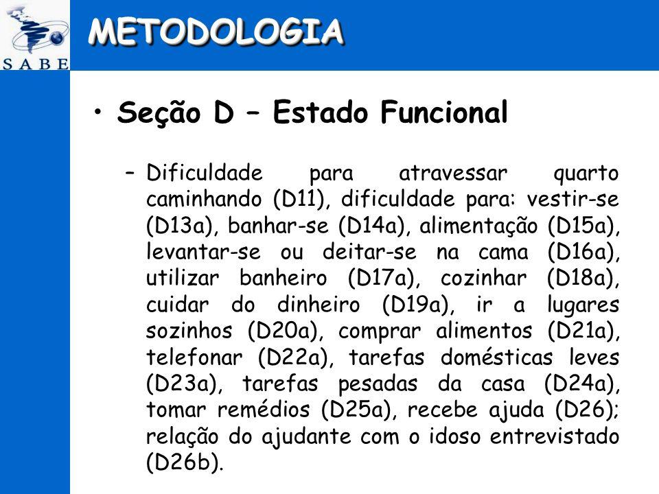 METODOLOGIA Seção D – Estado Funcional