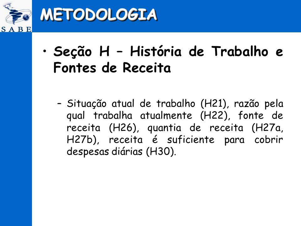 METODOLOGIA Seção H – História de Trabalho e Fontes de Receita