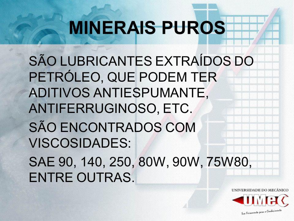 MINERAIS PUROS SÃO LUBRICANTES EXTRAÍDOS DO PETRÓLEO, QUE PODEM TER ADITIVOS ANTIESPUMANTE, ANTIFERRUGINOSO, ETC.