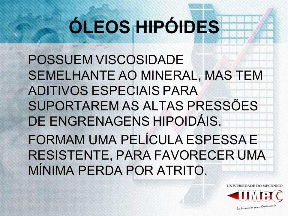 ÓLEOS HIPÓIDES POSSUEM VISCOSIDADE SEMELHANTE AO MINERAL, MAS TEM ADITIVOS ESPECIAIS PARA SUPORTAREM AS ALTAS PRESSÕES DE ENGRENAGENS HIPOIDÁIS.