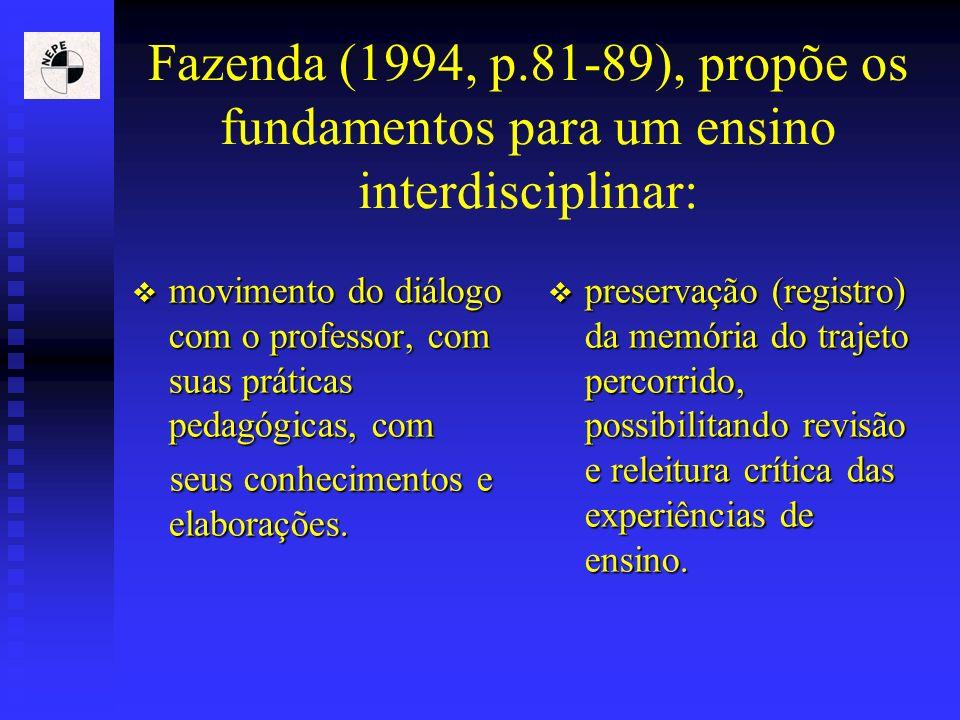 Fazenda (1994, p.81-89), propõe os fundamentos para um ensino interdisciplinar: