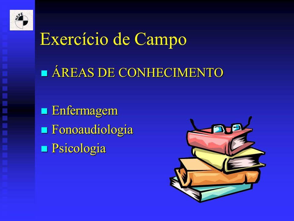 Exercício de Campo ÁREAS DE CONHECIMENTO Enfermagem Fonoaudiologia