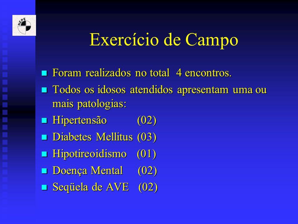 Exercício de Campo Foram realizados no total 4 encontros.