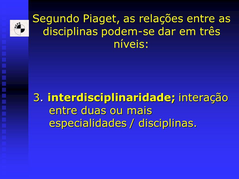Segundo Piaget, as relações entre as disciplinas podem-se dar em três níveis: