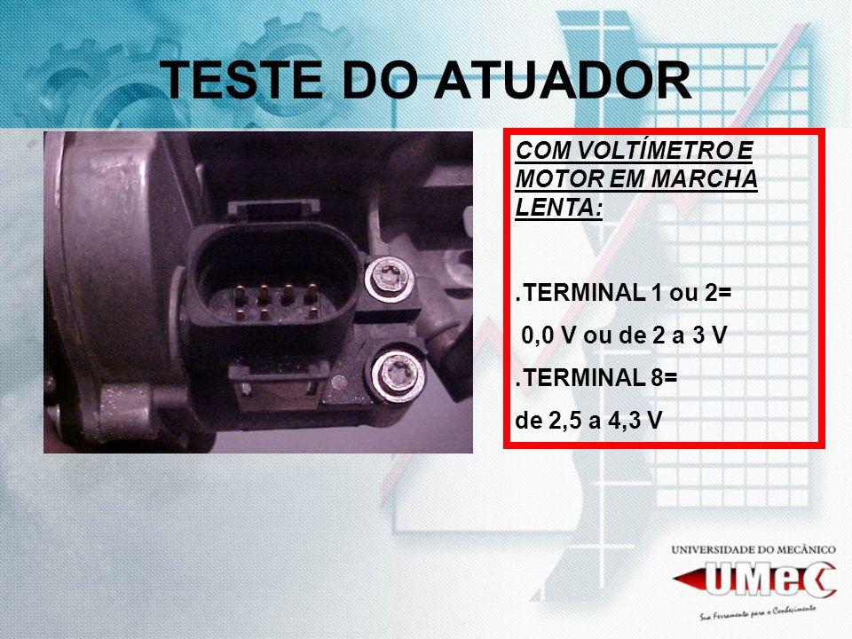 TESTE DO ATUADOR COM VOLTÍMETRO E MOTOR EM MARCHA LENTA: