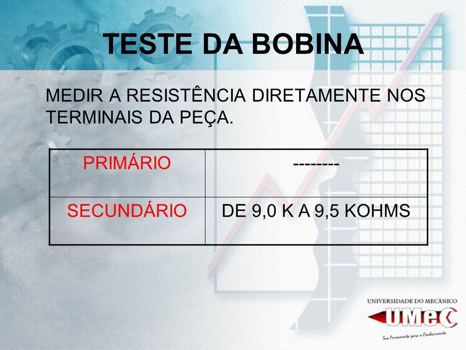 TESTE DA BOBINA MEDIR A RESISTÊNCIA DIRETAMENTE NOS TERMINAIS DA PEÇA.