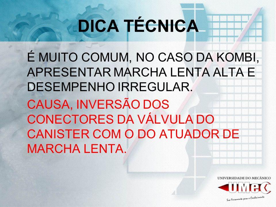 DICA TÉCNICA É MUITO COMUM, NO CASO DA KOMBI, APRESENTAR MARCHA LENTA ALTA E DESEMPENHO IRREGULAR.